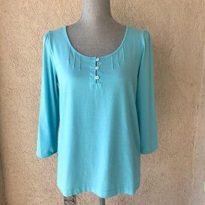 Lands' End Teal Blue Crop Long Sleeve Top Shirt S